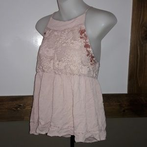 Womens sz S ALYA peachy embroidered crop top